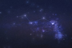 Vulpecula Constellation in outer space. Chanterelle constellation stars with constellation lines Elements of this image were furnished by NASA