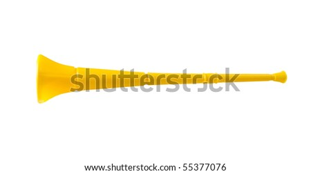 Vuvuzela instrument from South Africa used by soccer fans to support their teams in the football stadium. Image isolated on white studio background.