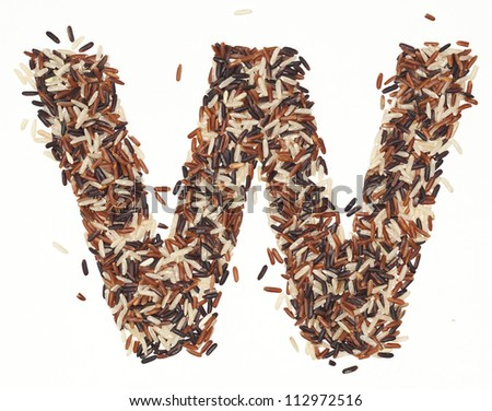 w, Alphabet from Organic Whole grain Rice