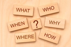W-questions as basic for journalism printed on cubes