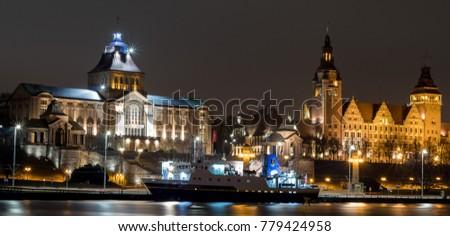 Wa?y Chrobrego in Szczecin, Poland by night. City of Szczecin by night.  Zdjęcia stock ©