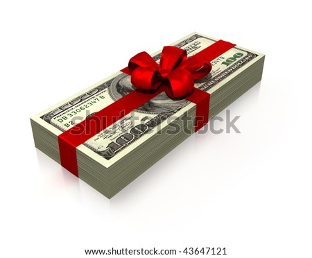 wad of 100 dollars gift isolated on white background - stock photo