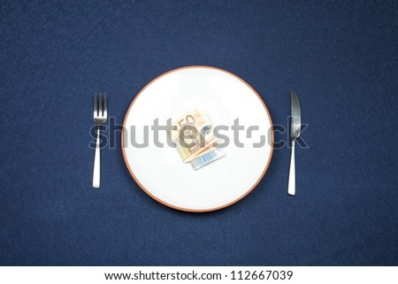 wad of euros on white plate and knife and fork