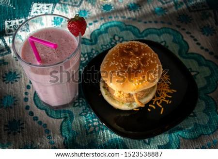 Wada pao and strawberry milkshake , traditional maharastrian pao #1523538887