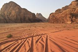Wadi Rum desert and the tracks of 4X4