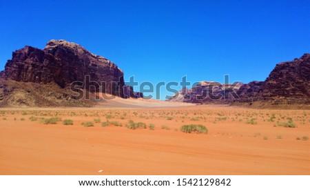wadi rum desert, rocky desert, desert with blue sky, #1542129842