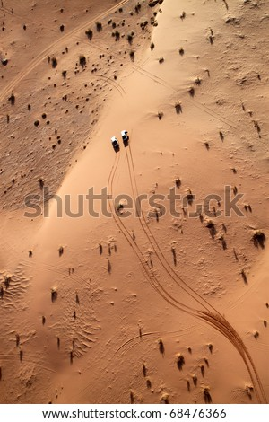 Wadi rum desert view from a hot air balloon, Jordan