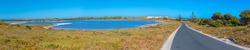 Wadjemup lighthouse over saline lakes at Rottnest island in Australia