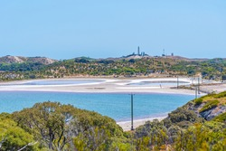 Wadjemup lighthouse over saline lakes at Rottnest island in Australia