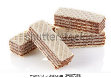 Wafer cookies with cream isolated on white