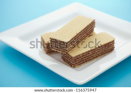 Wafers on the white plate