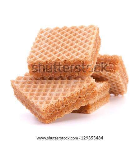 Wafers or honeycomb waffles isolated on white background