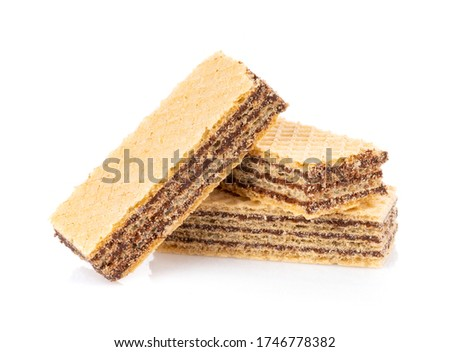 wafers with chocolate isolated on white background
