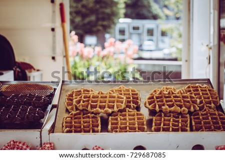 Waffle and stroopwafel store: delicious guilty pleasure food #729687085