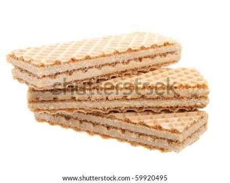 Waffle cake dessert isolated on white background
