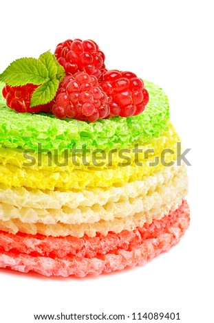 Waffle cake with raspberries isolated on the white background
