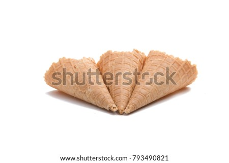 waffle cone isolted on the white. waffle for ice cream Stock photo ©