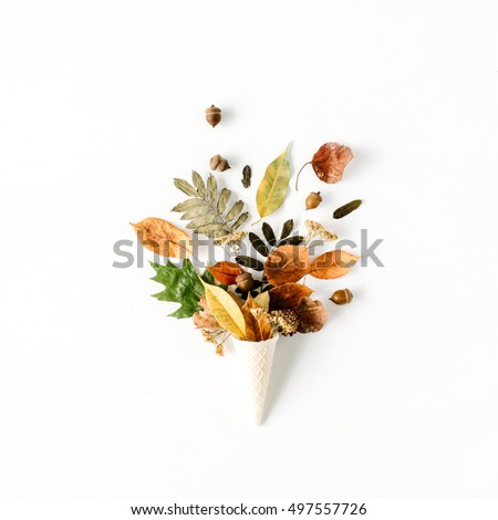 waffle cone with dried autumn...