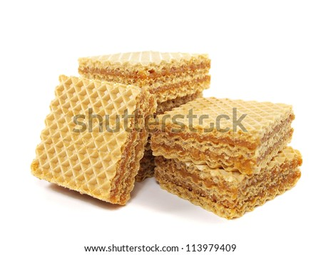 waffle with caramelized condensed milk on a white background
