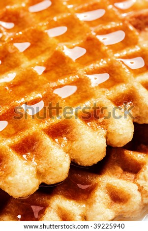 Waffles and honey for breakfast