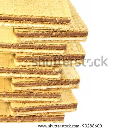 Waffles close up isolated on white