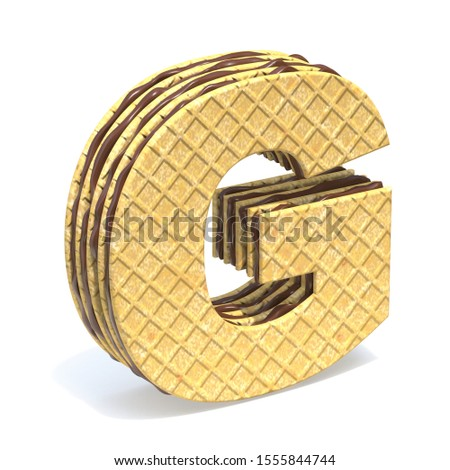 Waffles font with chocolate cream filling Letter G 3D rendering illustration isolated on white background Stock fotó ©
