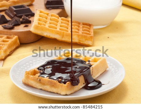 Waffles on melted chocolate