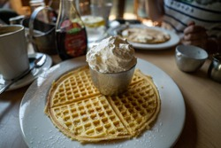 waffles with grean ice cream