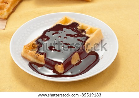 Waffles with melted chocolate