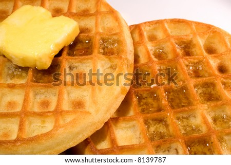 Waffles with syrup ready to eat