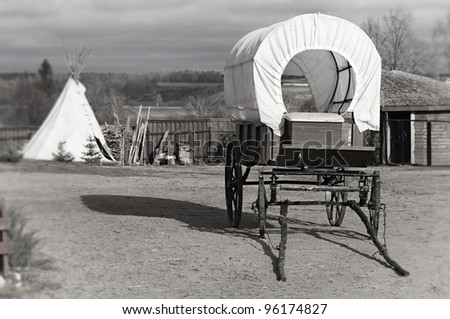 Wagon and wigwam, traditional articles of ancient American country