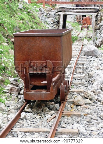 wagon to transport the ore from a mine - stock photo
