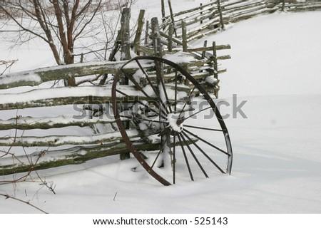 Wagon Wheel in Snow I