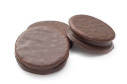 Wagon wheel style chocolate covered marshmallow cookies on white