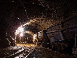 Wagons in gold mine