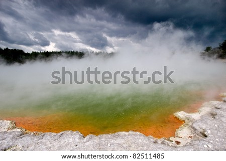 "Wai-O-Tapu (Maori for ""Sacred Waters"") is an active geothermal area at the New Zealand"