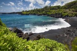 Waianapanapa state park, black sand beach. Maui, Hawaii