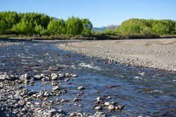 Waiau River, Hanmer Springs, Canterbury, South Island, New Zealand, with stony river bed and trees beyond.