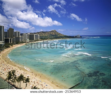 Waikiki Beach and Diamond Head Crater on the Hawaiian island of Oahu.