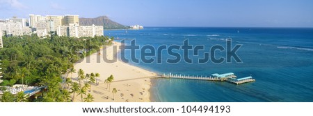 Waikiki Beach and Diamond Head, Honolulu, Oahu, Hawaii