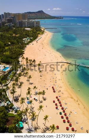 waikiki beach and Diamond Head, oahu,hawaii - stock photo