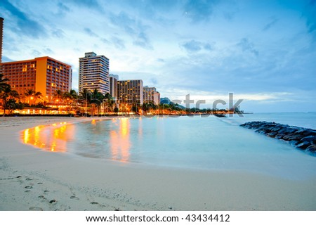 Waikiki beach in the morning