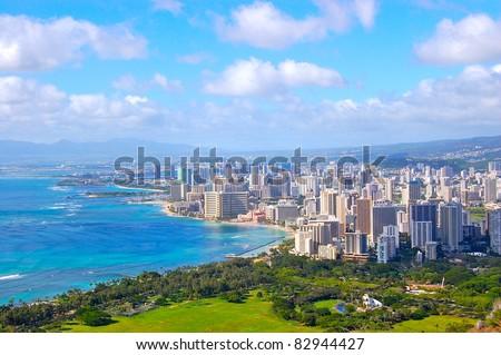 Waikiki Honolulu Hawaii City View from Diamondhead