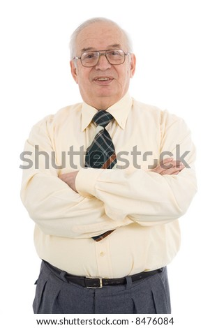 Waist up portrait of successful mature businessman, wearing formal attire. Studio shot isolated on white background