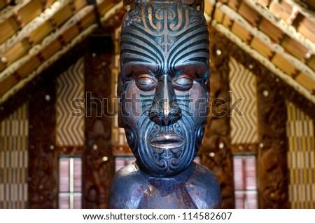 WAITANGI - OCTOBER 02: Interior view of the Maori meeting house (Marae) near the Treaty House on October 02 2012 in Waitangi, New Zealand. - stock photo