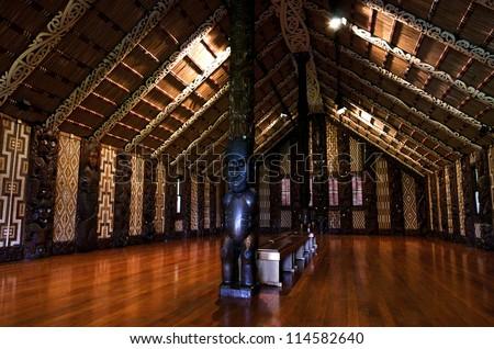 WAITANGI - OCTOBER 02: Interior view of the Maori meeting house (Marae) near the Treaty House on October 02 2012 in Waitangi, New Zealand.