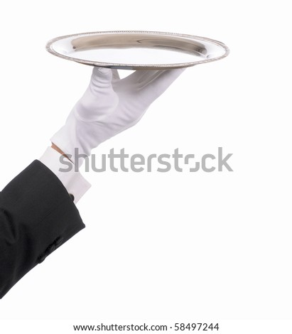 Waiter hand and arm with empty silver serving tray. Closeup of arm with tuxedo sleeve and formal white gloved hand isolated on white.