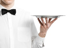 Waiter hand with metal plate tray isolated