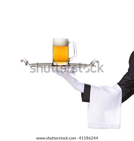 Waiter holding a silver tray with a beer mug on it