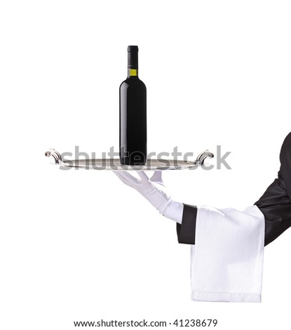 Waiter holding a silver tray with a red wine on it